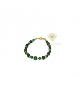 Malachite Cube Bracelet Gold Filled