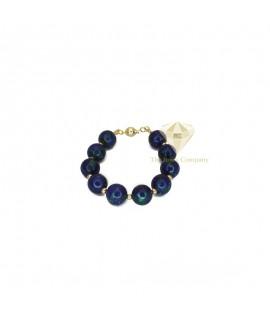 Azurite Round Beads Bracelet Gold Filled