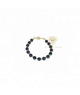 Azurite Small Round Beads Bracelet Gold Filled