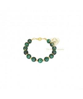 Malachite Round Beads Bracelet Gold Filled