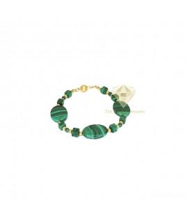 Malachite Round And Cube Bracelet Gold Filled