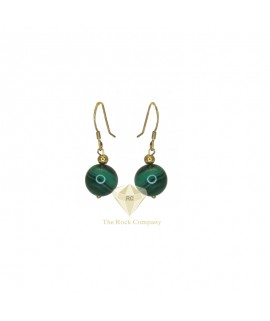 Malachite Gold Filled Round Earrings