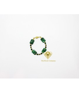 Malachite square Bracelet Gold Filled
