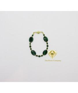 Malachite Oval Bracelet Gold filled