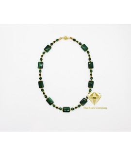 Malachite Square Necklace Gold Filled