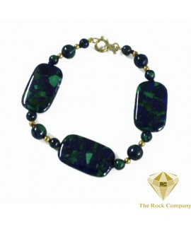 Azurite Square Necklace Gold Filled