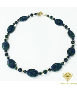 Azurite Round Oval Necklace Gold Filled
