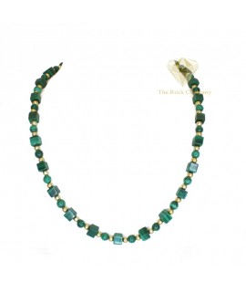 Malachite Cube Necklace Gold Filled