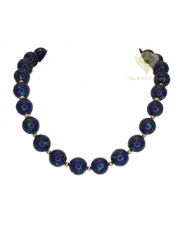 Azurite Round Beads Necklace Gold Filled