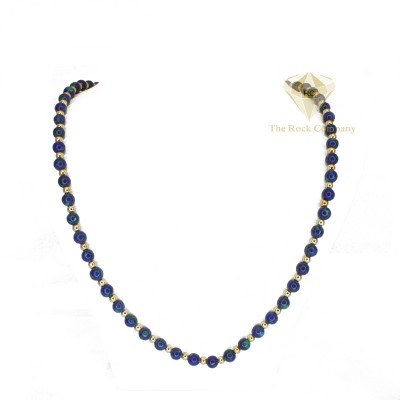 Azurite Necklace Gold Filled  Small Beads