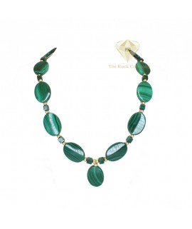 Malachite Round And Cube Necklace Gold Filled
