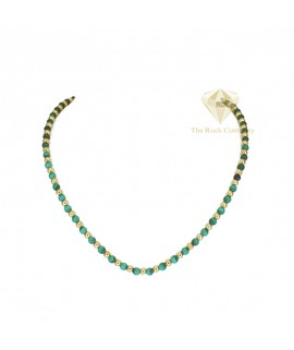 Malachite Round Beads Necklace Gold Filled