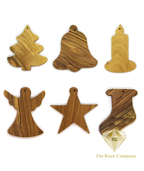 24 pieces OLIVE WOOD ORNAMENTS