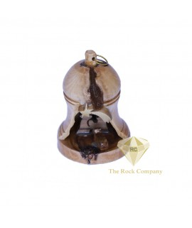 Olive Wood Bell Christmas Ornament