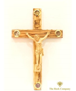 Olive Wood Cross With 4 Holy Items