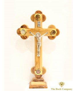 Byzantine Olive Wood Cross On Stand With 4 Holy Items