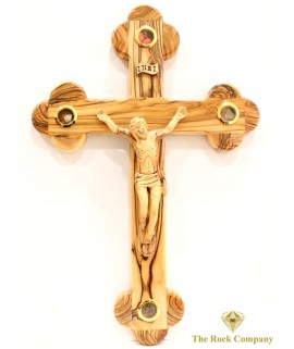 Byzantine Olive Wood Cross With 4 Holy Items