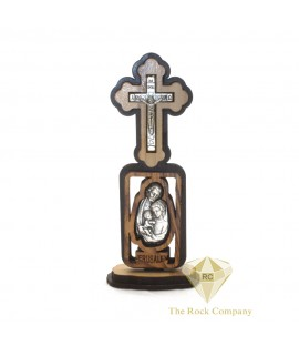 Holy Land Olive Wood Holy Family Icon Cross Stand