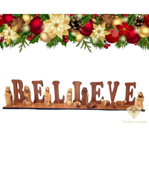 Believe sign Nativity Set olive wood hand carved