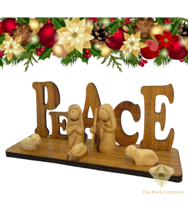 Christmas Peace Sign Nativity scene olive wood hand carved