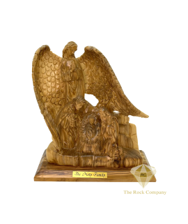 Praying Guardian Angel with Holy Family Nativity Scene Statue Olive Wood Hand Carved