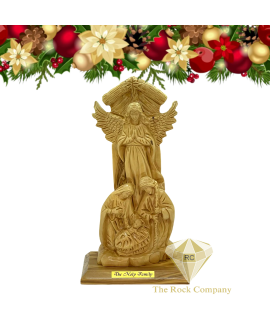Nativity Scene with Angel statue Olive Wood hand carved