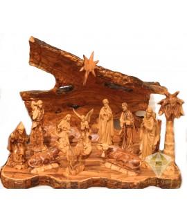 Olive Wood Artistic Nativity Set