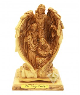 Olive Wood Artistic Guardian Angel With Holy Family