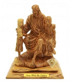 Olive Wood Artistic Jesus With The Children