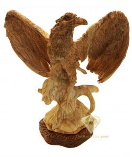 Olive Wood Artistic Eagle Sculpture