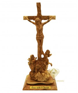 Olive Wood Artistic Jesus Cross With three Cherubs