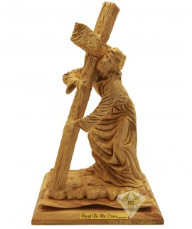 Olive Wood Artistic Road To The Cross Sculpture