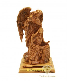 Olive Wood Artistic Annunciation Statue