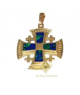 Azurite 14k Yellow Gold Jerusalem Cross Pendant
