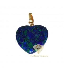 14K Yellow Gold Azurite Heart Pendant