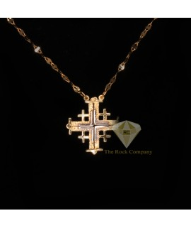 14K Yellow and White Gold Jerusalem Cross Magnetic