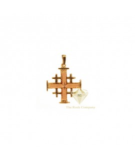 14K Rose Gold and Yellow gold  Jerusalem Cross Pendant With Star Engraving