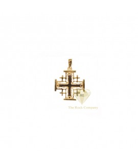 14K Gold and White Jerusalem Cross Pendant