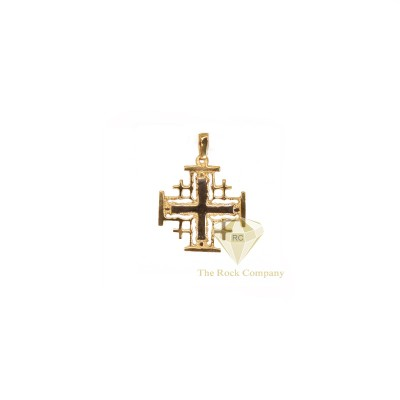 14K Gold and White Jerusalem Cross Pendant