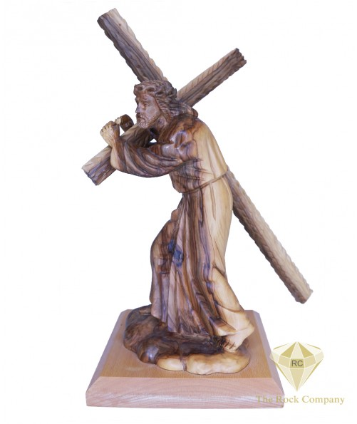 Olive Wood Hand Carved Jesus Holding The Cross