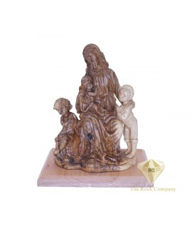 Olive Wood Hand Carved Jesus With The Children