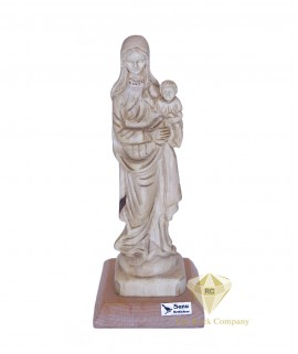 Olive Wood Hand Carved Mary With The Child