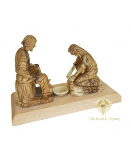 Olive Wood Hand Carved Jesus Washing The Feet