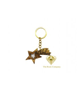 Star Of Bethlehem Olive Wood Key Chain