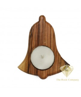 Olive Wood Candle Holder Bell Shape