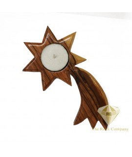 Olive Wood Candle Holder Bethlehem Star