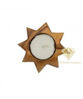 Olive Wood Candle Holder Star