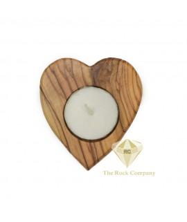 Olive Wood Candle Holder Heart Shape