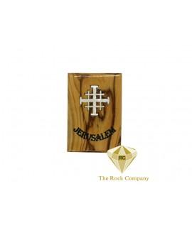 Mother Of Pearl Jerusalem Cross on Olive Wood