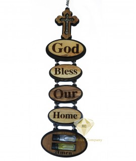Olive Wood God Bless Our Home Wall Hanging